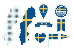 Mapa da Suécia e elementos gráficos gratuitos vetor