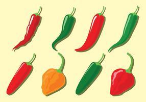 Ícones do vetor da pimenta de pimentão
