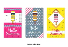 Conjunto de cartões de verão Hello Summer vetor