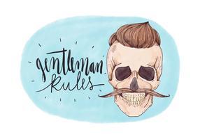 Homem do crânio do vintage com bigode e rotulação vetor
