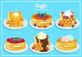 Waffles do mel da morango e do mirtilo na aguarela vetor