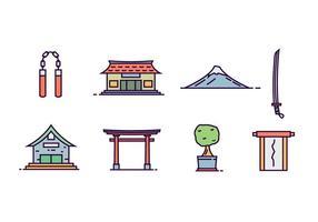 Objetos Cultura Japonesa vetor