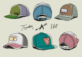 Ilustração desenhada mão colorido do vetor do chapéu do camionista