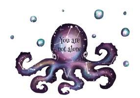 Galaxy Cosmos Com Octopus Silhouette vetor