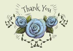 Entregue a ilustração tirada e da aguarela de rosas e das folhas azuis para dizer agradece-lhe. vetor