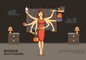 Trabalhos multitarefa Ilustração vetorial feminina vetor