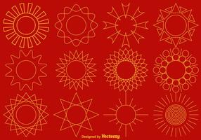 Coleção de vetores de ícones de linha de sol