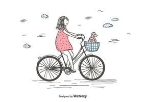 Menina, equitação, bicicleta, vetorial vetor