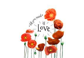 Flores vermelhas da aguarela e citações bonitas vetor