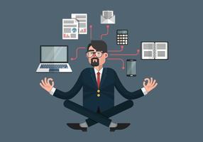 Ilustração do vetor multitarefa da pessoa no trabalho