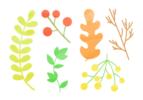 Elementos naturais gratuitos de aquarela vetor