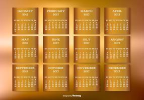 Calendário de desktop dourado 2017