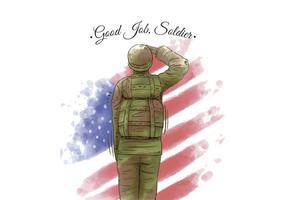 Aquarela Bandeira Americana e Veterano Soldado Americano vetor