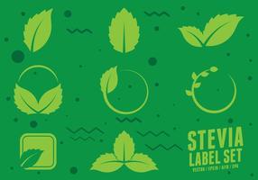 Ícones de adoçante natural de Stevia vetor