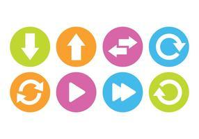 Seta Botão Conjunto de ícones vetor