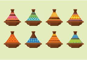 Tajines feito de barro no Souk em Chefchaouen, Marrocos vetor