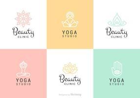Conjunto de logotipo do vetor de beleza e yoga
