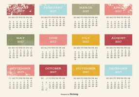 Calendário 2017 do estilo do Grunge