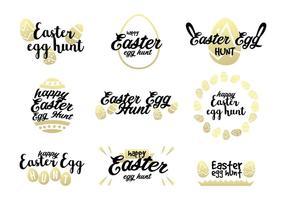 Dourado, páscoa, ovo, caça, vetores
