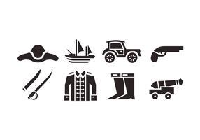 Colonial ícones do vetor