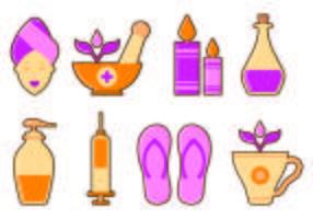 Jogo, beleza, clínica, ícones vetor