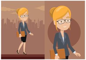 Negócio, mulher, caráter, vetorial vetor