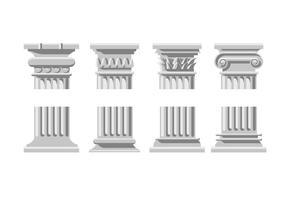 Ícones de coluna romana vetor