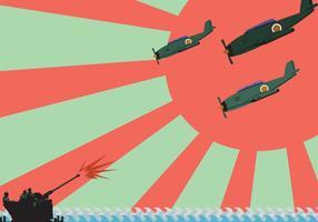 Kamikaze Plano Vector Ilustração