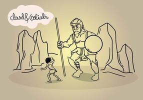 Ilustração da arte de linha de David e de Goliath vetor
