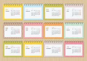 Calendário de Desktop Grátis 2018 com ilustração de modelo de cores macias vetor