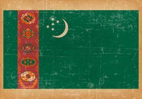 Bandeira do Grunge do Turquemenistão vetor