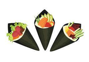 Variações de sushi de temaki vetor