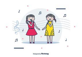 Meninas cantando fundo do vetor