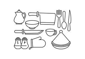 Vetor de ícone de linha de cozinha grátis