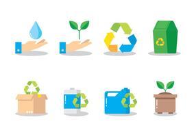 Ícone plano de reciclagem vetor