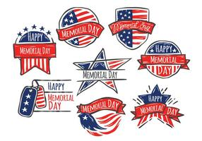 Feliz Memorial Day of Hand Drawn Style Vector Set