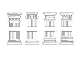 Ícones da coluna romana vetor