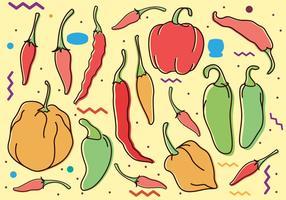 Desenho de Doodle de pimentas de pimentão vetor