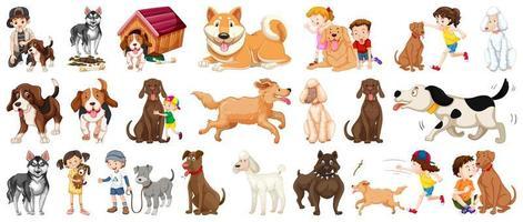 conjunto de personagem de desenho animado de cachorro