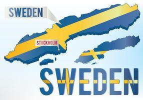Mapa da bandeira da Suécia vetor
