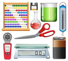 conjunto de equipamentos científicos em fundo branco vetor