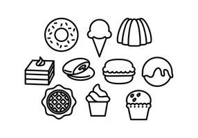 Vetor livre de ícones de linha de comida doce