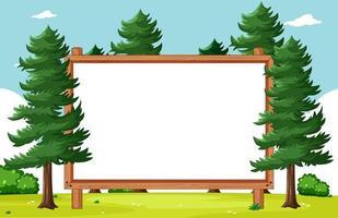 moldura de madeira em branco com pinheiros no cenário do parque