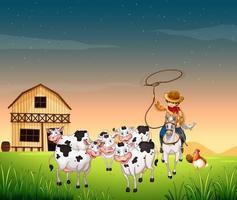 cena de fazenda com fazenda de animais e céu vazio vetor