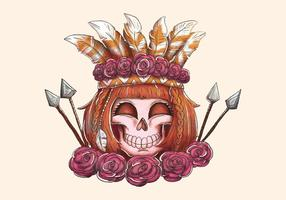 Boho Woman Skull Smiling With Arrow Rosas e penas vetor
