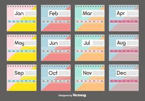 Conjunto de modelos de calendário da área de trabalho vetor