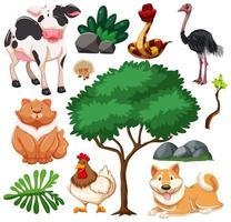 conjunto de fazenda animal fofa e natureza vetor