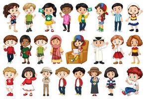 grande conjunto de crianças fazendo atividades diferentes