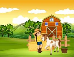 cena de fazenda com garota e cavalo na fazenda vetor