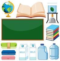 conjunto de itens escolares em fundo branco vetor